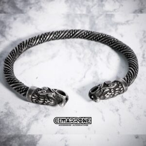 vikingos brazalete acero inoxidable dragon lobo nordico celta